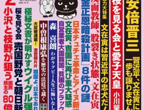 月刊 「Hanada」 2020年2月号 (2019年12月20日発売) 飛鳥新社 インタビュー記事掲載